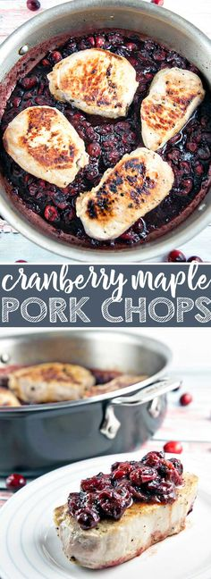 Cranberry Maple Pork Chops: perfectly pan seared pork chops with a cranberry maple mustard sauce. Plus, the top tip for keeping your pork chops juicy! {Bunsen Burner Bakery} #pork #cranberries #glutenfree #dinner #30minutes via @bnsnbrnrbakery