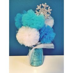 Frozen Elsa Inspired - Hand Glittered Gold Mason Jar Tulle Pom Pom Princess Centerpiece! - Customize your Colors! by TheEnchantedPrincess on Etsy https://www.etsy.com/listing/220027916/frozen-elsa-inspired-hand-glittered-gold