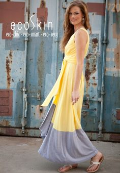 Sunset #Vegan #Dress in Sunshine and Grey by #ecoSkin