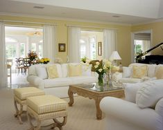 coastal living rooms The Appeal Of Yellow Living Room 86 Home Living Room, Farm House Living Room, Paint Colors For Living Room, Beach House Living Room, Trendy Living Rooms, Coastal Living Rooms, Yellow Living Room, Interior Design, Living Decor