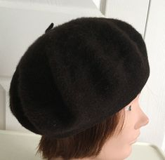 80s Dark Brown angora wool lined beret women hat small 10 inches Beatnik  Look 9bb80ac24559