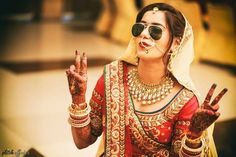 Sunglasses for an Indian Wedding   a must for the couple   Curated by witty vows   Selfie and photo of Indian bride with sunglasses   Hide the hangover