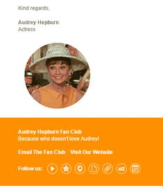 Because who doesn't love Audrey! Animated gifs for your email signature templates #audreyhepburn #design