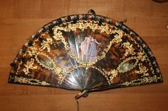 Tortoise Shell Brise Hand Fan - Hand Painted and Pierced antique ...