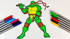 How to colour Michelangelo TMNT Drawing Green And Orange, Orange Color, Ninja Turtle Drawing, Michelangelo, Coloring For Kids, Tmnt, Colours, Drawings, Sketches