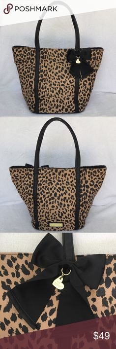 "Betsey Johnson Very Roomy Leopard Bag Much loved, gently used! Can fit LOTS of stuff! Bag bottom is 8"" X 10.5"" Betsey Johnson Bags"