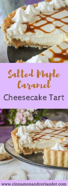 Salted Maple Caramel Cheesecake Tart (No Bake). A heavenly No Bake Cheesecake Tart with lots of Salted Maple Caramel inside and on top! Lovers of all things maple syrup will be all over this showstopping dessert!