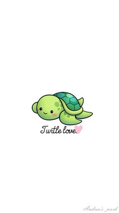 Turtle love wallpaper by - - Free on ZEDGE™ Cute Turtle Drawings, Cute Turtle Cartoon, Kawaii Turtle, Cute Cartoon Drawings, Cute Kawaii Drawings, Cute Animal Drawings, Cute Baby Turtles, Turtle Love, Wallpaper Iphone Cute