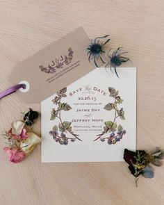 Floral-inspired save-the-dates hinted at the big-day blooms that would decorate this Maine wedding.