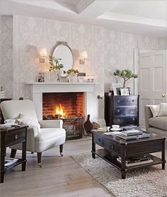 Josette White/Dove Grey Damask Wallpaper at Laura Ashley Living Room Grey, Living Room Kitchen, Interior Design Living Room, Living Room Decor, Design Interior, Damask Wallpaper Living Room, Grey Damask Wallpaper, Laura Ashley Wallpaper Grey, Laura Ashley Living Room