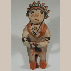 "#adobegallery #CochitiPueblo #SouthwestIndianPottery - Seated Male Figurine with Head Bonnet. Potter Unknown Category: #Figurines Origin: #Cochiti #Pueblo Medium: clay, pigment Size: 6-1/4"" height x 5"" depth x 3-1/2""width Item # C3702A"