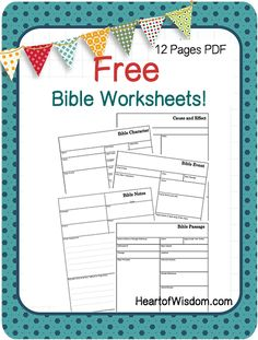 Free Bible Worksheets from HeartofWisdom.com Great for documenting daily studies: Bible Event Worksheet,  Bible Character Worksheet,  Bible Passages Worksheet,  Bible Notes Worksheet and more. Please re-pin