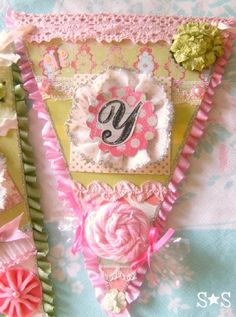 baby banner pink & green