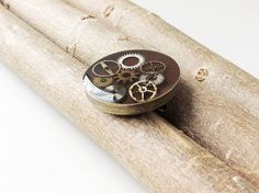 Steampunk Brooch Pin Small Recycled Watch Parts by JustKJewellery