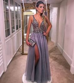 Classy Prom Dresses, Gray Tulle Beaded Prom Dresses A-line Long V Neck Evening Dresses Spaghetti Straps Formal Gowns Sexy High Slit Party Pageant Dresses for Teens Prom Dresses Long Pageant Dresses For Teens, Homecoming Dresses Long, V Neck Prom Dresses, Prom Party Dresses, Formal Evening Dresses, Formal Gowns, Evening Gowns, Dress Party, Dress Formal