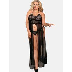 ace2e1e683b2 Plus Size Maxi Babydoll and Panty Lingerie Set - Black L Mobile Plus Size  Intimates,