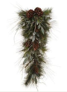 "34"" Eucalyptus Twig and Pine Cone Christmas Teardrop Swag - Unlit"