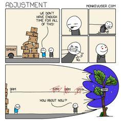 Adjustment Programming Humor, Software Development, Satire, Comics, Comic Book, Comic Books, Comic, Comic Strips, Sarcasm