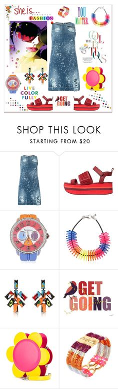 """""""She is strictly fashion..."""" by zabead ❤ liked on Polyvore featuring MARCOBOLOGNA, DKNY, Tendence, Dsquared2, Tom Binns, Jeremy Scott, Clémentine Henrion, Maison Margiela, StreetStyle and denim"""