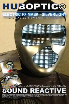 Silver Mask Electric FX Silverlight / Led DJ Mask by HUBOPTIC