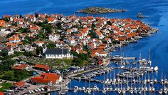 Fiskebäckskil : Aerial view in modern time. church and boat-harbour.