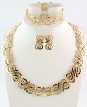 Free shipping wedding gold jewelry sets gold plated jewelry sets 18K gold necklace sets african beads jewelry sets(China (Mainland))