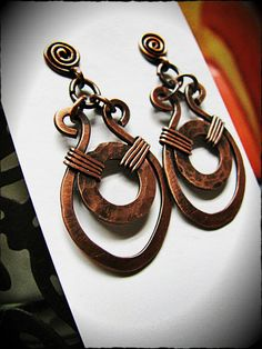 Handmade Hammered Copper Earrings by GeishaCreations