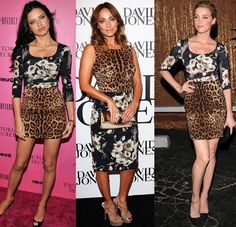 Adriana Lim, Amber Heard, and Natalie Imbruglia wear leopard and floral print Dolce and Gabbana.