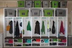 Need extra storage for all of your stuff? Then you need to build these garage mudroom lockers to organize all of your things! Need extra storage for all of your stuff? Then you need to build these garage mudroom lockers to organize all of your things! Garage Lockers, Diy Garage, Garage Workbench, Garage Mudrooms, Garage Entryway, Garage Kits, Garage Cabinets, Garage Plans, Wooden Lockers