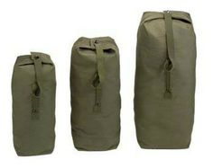 "Canvas Military Duffle Bags - Olive Drab Duffles 21"" x 36"" top load heavyweight cotton canvas duffle bag, cotton web shoulder strap, double reinforced grab handle, snap hook closure.'"