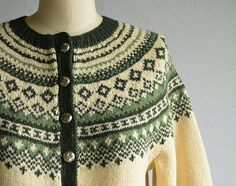Vintage Norwegian Cardigan / Hand Knit Wool by zestvintage Sweater Knitting Patterns, Knitting Designs, Hand Knitting, Vest Pattern, Elsa, Ready To Wear, Vintage Outfits, How To Make, How To Wear
