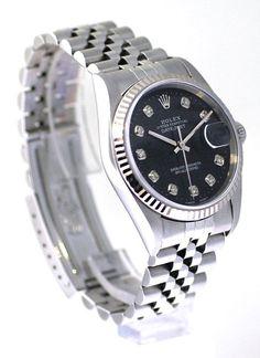 Rolex Datejust Mens Black Color Jubilee Diamond Face / WG Bezel