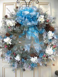 Christmas Door Wreath - Fireplace - Indoor Outdoor Holiday Decor - Blue & White