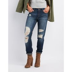 Refuge Boyfriend Destroyed Jeans ($24) ❤ liked on Polyvore featuring jeans, dark wash deni, relaxed boyfriend jeans, distressed skinny jeans, skinny jeans, ripped jeans and ripped boyfriend jeans