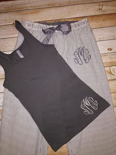 Seersucker Adult Monogrammed Pajama Set, Bridesmaid gift, Monogram sleep pants, charcoal seersucker