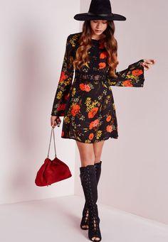 Lace Trim Shift Dress Black Floral Print - Dresses - Shift Dresses - Missguided