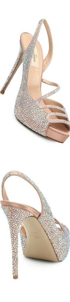Valentino Strass Crystal Silk Satin Platform Sandals