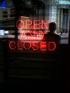 David Shrigley Open and Closed Neon Light Up Shop Sign | City Streets | Photography | Neons | Lights | Storefront | Urban Photo | Silhouette | Typography