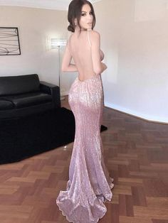 fadc9b37eba Mermaid spaghetti straps open back stretch sequin fabric sexy prom dress  Prom Party Dresses