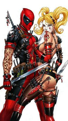 Deadpool & Harley Quinn commission for Jamie Tyndall. Lines: Jamie Tyndall This print is available for sale here: [link] Colors: me, Ula Mos . Harley Quinn and Deadpool, J. Comic Book Characters, Comic Character, Comic Books Art, Comic Art, Dead Pool, Anime Sexy, Marvel Vs, Marvel Dc Comics, Catwoman