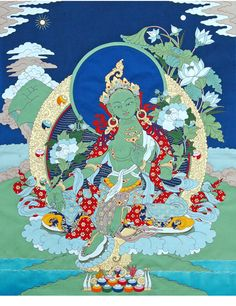 Green Tara Applique Thangka @ NORBULINGKA  www.norbulingkashop.com