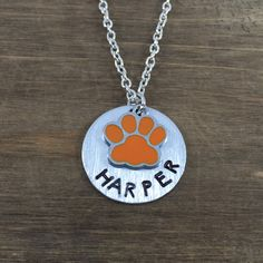 Personalized Tiger/Wildcat Paw Necklace - Handstamped Name Necklace - Tiger/Wildcat Fan Gift - Paw Print Necklace by SunflowerShadows on Etsy