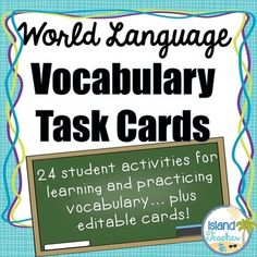 This packet contains 24 different task card activities for students to practice vocabulary. This also includes an editable template to create 6 additional activities. The cards can be used with any vocabulary unit in any language! While I use it in my Spanish classes, the packet is all in English, so it can be used with vocabulary in any language classroom (French, German, Italian, ESL etc.).