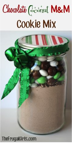 Chocolate Coconut M and M Cookie Mix in a Jar! ~ from TheFrugalGirls.com ~ this is SO simple to assemble, and makes a fabulous gift.  The cookies taste AMAZING! #masonjars #thefrugalgirls