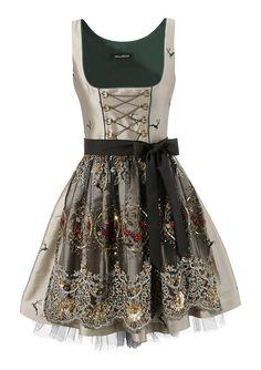Dirndl, Mondkini ab 159,99€. Mit eingenähten Petticoat, Mit goldener Kettenschnürung, Aufwändig verarbeitete und bestickte Tüllschürze bei OTTO
