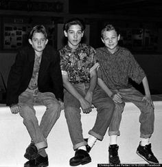 Leonardo DiCaprio with Tobey Maguire and an boy.