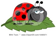 Clipart Happy Grinning Ladybug On A Leaf - Royalty Free Vector Illustration by Hit Toon