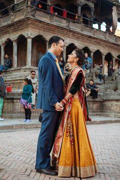 Indian wedding photography. Couple photo shoot ideas. Bridal lehenga