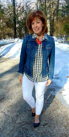 navy gingham, denim jacket, white jeans
