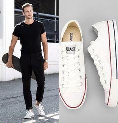 Trends in Boys' Wear Sneaker Outfits, Converse Sneaker, Boy Outfits, Casual Outfits, Men Casual, White Converse Outfits, Moda Converse, Look 80s, All Black Men